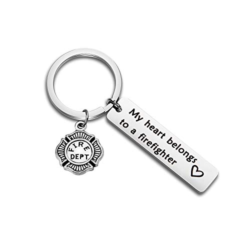 WUSUANED My Heart Belongs to A Firefighter Keychain Gift for Fireman Mom Wife Daughter Girlfriend (Firefighter Keychain) by WUSUANED