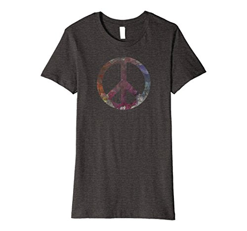 Womens Distressed Watercolor Peace Sign T Shirt  Vintage  Hippie Xl Dark Heather