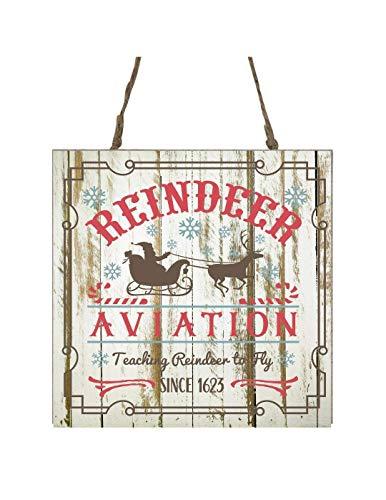 Reindeer Aviation Printed Handmade Wood Christmas Ornament Small Sign