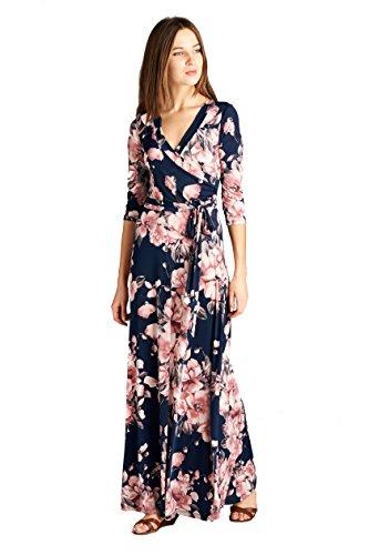 On Trend Women's Paris Bohemian 3/4 Sleeve Long Maxi Dress (Large, Blue Boho)