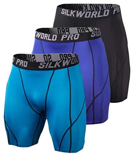 SILKWORLD Men's 3 Pack Running Tight Compression Shorts