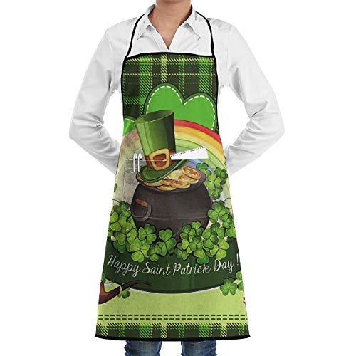 MAGICAI Rainbow Gold Pot Leprechaun Tophat Shamrock Clovers Apron Bib Pockets with Cooking for Kitchen Durable Unisex 20.5X28.3 Inth ()