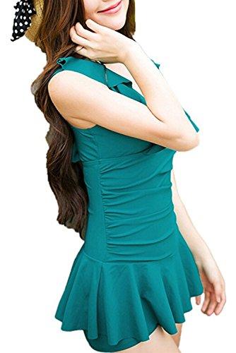 Aidonger del mujeres Mini vestido V-cuello de volantes vestido de la playa de los pantalones cortos con muchos colores Verde