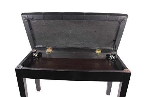 New Black Leather Ebony Polish Concert Duet Piano Bench Padded Keyboard Storage Seat
