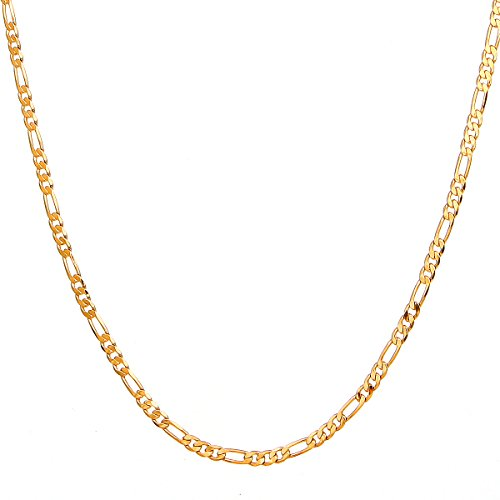 2mm Figaro Link Chain (Followmoon 18k Gold Plated Flat Figaro Link Necklace Chain or Bracelet -Width 1.8mm-12mm,Length 18