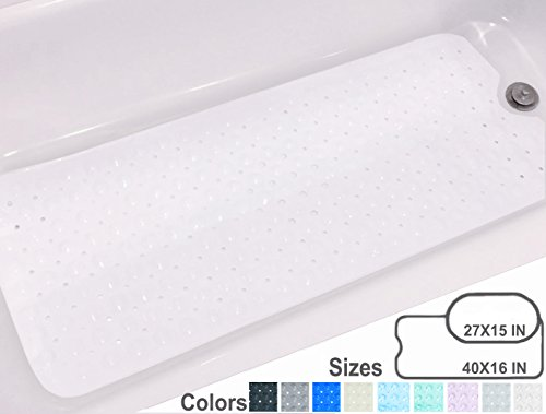 Yimobra Bath Tub and Shower Mat Extra Long 16 x 40 Inch,Machine Washable,Anti Bacterial,Phthalate,Latex Free,Large for Bath,White