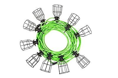 Illuminator 41923100-Foot Heavy Duty String Light, 10 Sockets and Metal Cages, Construction Site Temporary Lighting, 150 Watt per Socket, 12/3 SJTW Cord, Bulbs Not Included