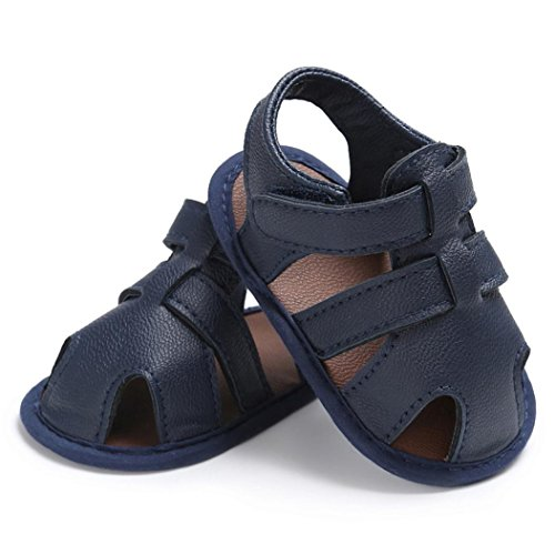 Amiley Summer Spring Baby Toddler Hook & Loop Boys Cute Crib Shoes T-tied Soft Prewalker Soft Sole Anti-Slip Newborn Shoes Sandals (Inches:4.7Age:6~12 Month, Dark Blue)