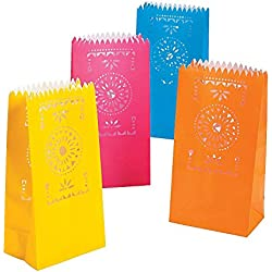 3 Pack of 12 Fun Express Fiesta Luminary Bags bundled by Maven Gifts
