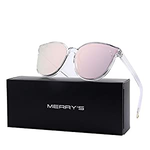 MERRY'S Round Sunglasses for Women Vintage Eyewear S8094 (Pink, 63)
