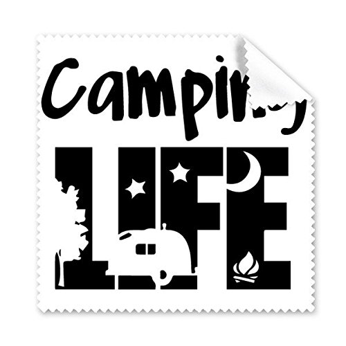 Camping Life カーツリームーンナイト クリエイティブ イラスト パターン メガネクロス クリーニングクロス 電話スクリーンクリーナー 5個   B06XGR5BS3