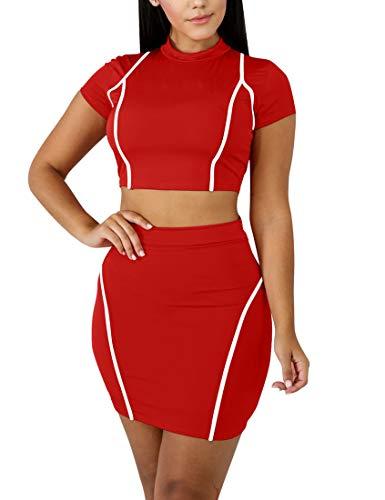 Mokoru Women's Sexy 2 Piece Crop Top Mini Skirt Set Short Sleeve Bodycon Club Dress, X-Large, Red White