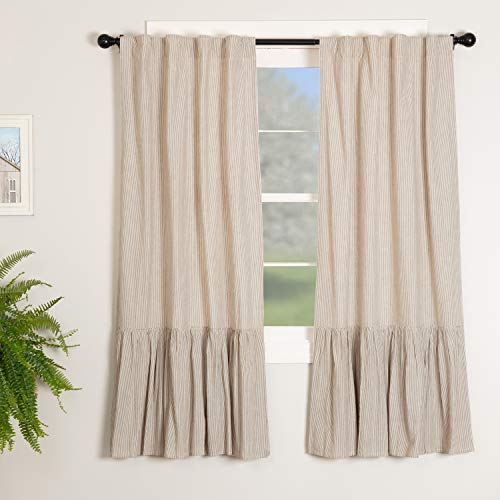 Sara's Ticking Ruffled Panel Curtains, Set of Two, 63