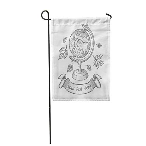 Tarolo Decoration Flag Pencil Retro Doodle of World Globe Stand Autumn School Sketch Leaves and Ribbon Atlas Hand Thick Fabric Double Sided Home Garden Flag 12