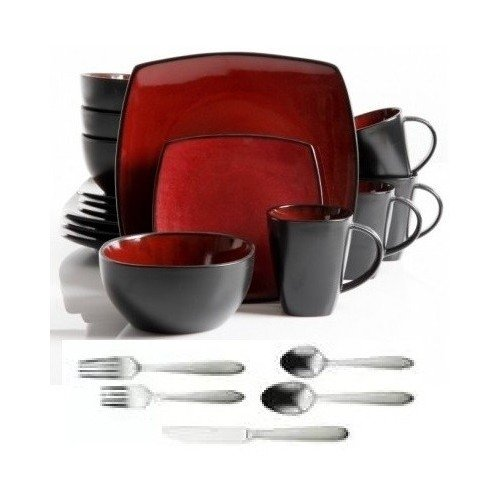 Square Dinnerware Service for 8, Plates Bowls Mugs Flatware Silverware, 77-Piece Set, Red & Black