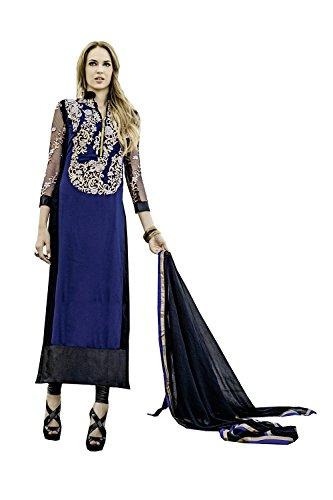 Da Facioun Femmes Indiennes Concepteur Partywear Ethnique Traditionelles Salwar Kameez Bleu.