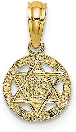 14k Yellow Gold Engraved Jewish Jewelry Star Of David Pendant Charm Necklace Religious Judaica Fine Jewelry For Women Gifts For Her