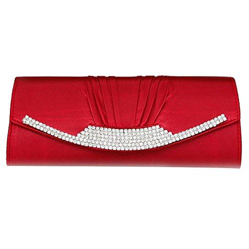 Women Silk Satin Pleated Clutch Evening Handbag with Rhinestone Wedding Party Prom Bridal Clutch Purse (Burgundy)