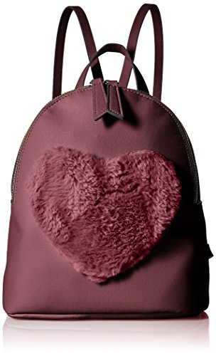 (T-Shirt & Jeans Mini Back Pack with Faux Fur Heart, Nvy)