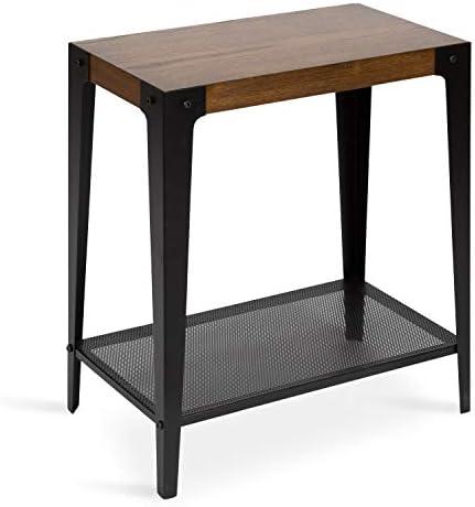 Kate and Laurel Vexler Industrial Wood and Metal End Table