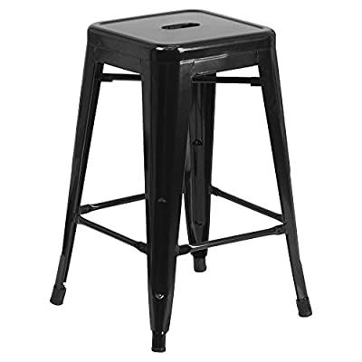 24'' High Backless Black Metal Indoor-Outdoor Counter Height Stool with Square Seat