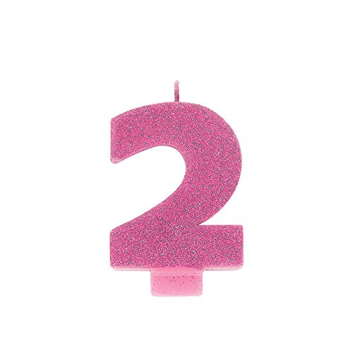 #2 Glitter Birthday Candle | Pink | Party Supply Amscan 170398
