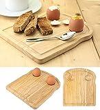 Rubberwood Breakfast Board Toast Shape With Egg Holders, Breakfast in Bed