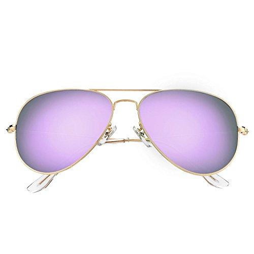 (LOMEDO Premium Polarized Aviator Sunglasses for Women Purple Mirrored W Flash UV400)