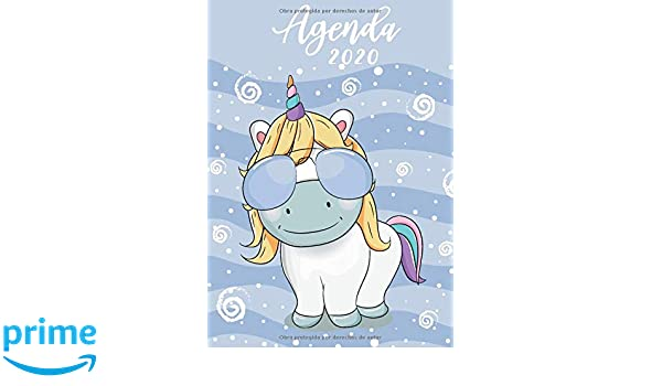 Agenda 2020: Tema Unicornios Azul Agenda Mensual y Semanal + ...