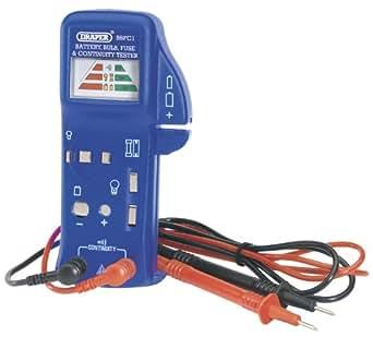 Batería bombilla fusible y comprobador - probador multi-propósito para pila seca 1,5 V baterías (AAA, AA, C, D y botón-type), 9 V pilas (PP3/6LR61), hogar y fusibles para automoción, bombillas (con cierre de bayoneta y empuje/tornillos linterna bombillas). Lecturas en claro antirresiduos. Hay también un comprobador audible mediante puntas de prueba suministrado. Tamaño 70 x 145 mm. 1 x 9 V PP3 funcionamientos off/6LR61 batería (incluida). Pantalla embaló.