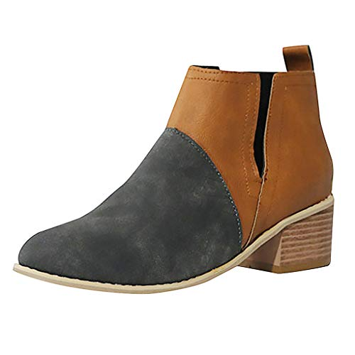 Womens Low Heel Ankle Boots Bootie Western Cut Out Slip On Loafers Round Toe Chunky Block Office Dress Shoes 1.57