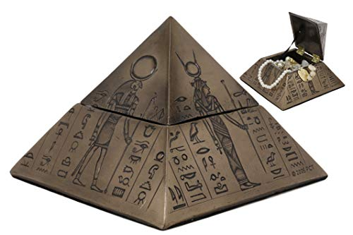 Ebros Ancient Egyptian Deities Isis Sekhmet Horus Anubis Pyramid with Hieroglyphs Jewelry Box Figurine 6