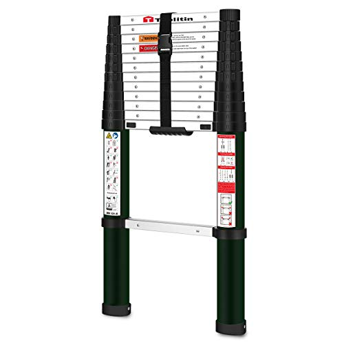 Toolitin Telescoping Ladder,12.5 FT One Button Retraction Aluminum Telescopic Extension Ladder,Slow Down Design…