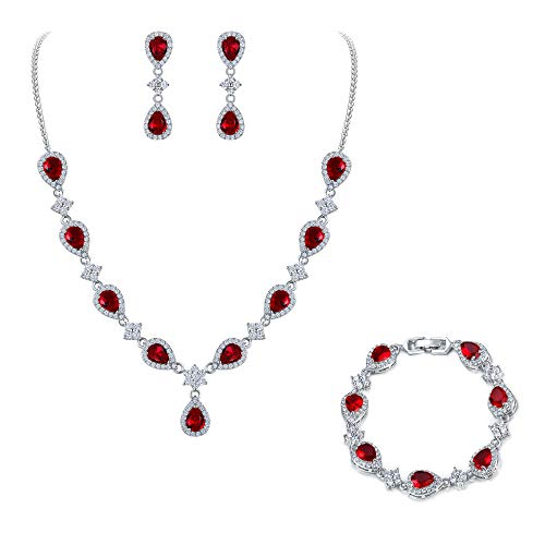 EleQueen Women's Silver-Tone Cubic Zirconia Teardrop Flower Bridal V-Necklace Set Tennis Bracelet Dangle Earrings Ruby Color