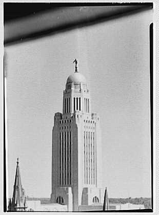 Photo: Nebraska State Capitol,Lincoln,Nebraska. Tower detail from hotel