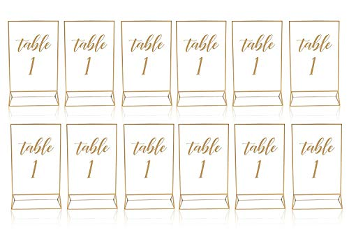 Gold Acrylic Frame Picture Table Holder | Ideal for Double Sided Sign, Clear Photo Holders, Menu Set, Art Display, Wedding Number Stand Decor, Set of 12 5