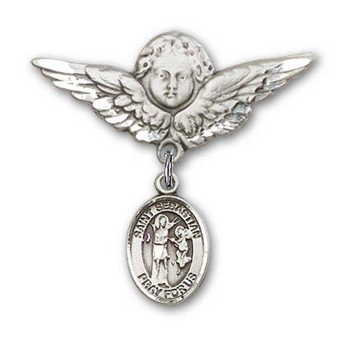 Icecarats Créatrice De Bijoux En Argent Sterling St. Broches Badge Sebastian Charme D'Ange 1 1/8 X 1 1/8