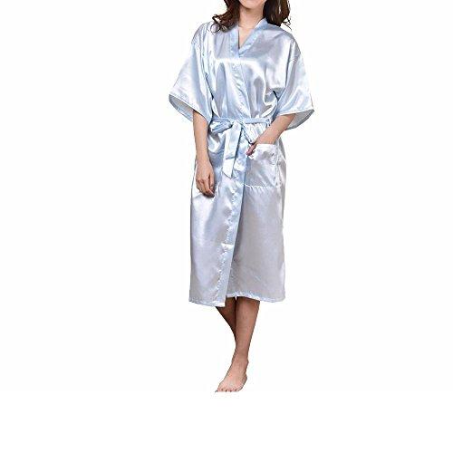 Männliche und weibliche Paar Nachahmung Seide Pyjama Sommer reine Farbe Seide Bad Kleider , s