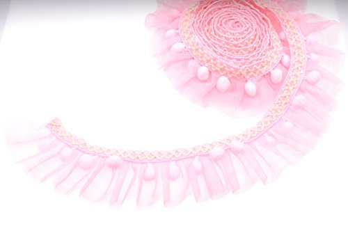 Marsha Q Double Layer Ruffled Lace Trim with Pom Pom Balls Trim Ball Fringe Ribbon 5cm Wide 2 Yards for Garment Extender DIY Sewing Craft Children's Wear Pet Clothing Home Decoration (Pink)