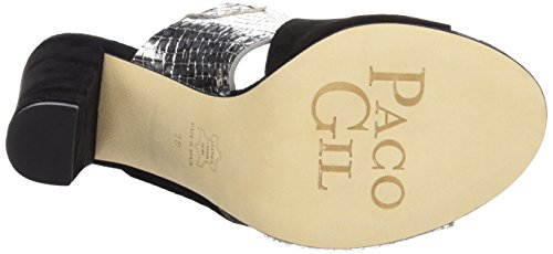 Paco Gil P3045 - Sandalias de Tacón Mujer Negro / Plata