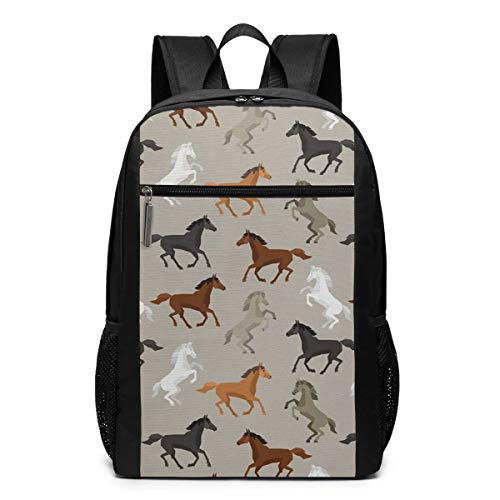 Abstract Stallions Simple Design Equestrian Animals Galloping Curvet Illustration Laptop Backpack For Women Men,School College Backpack Travel Backpack Fits 17 Inch Notebook (12