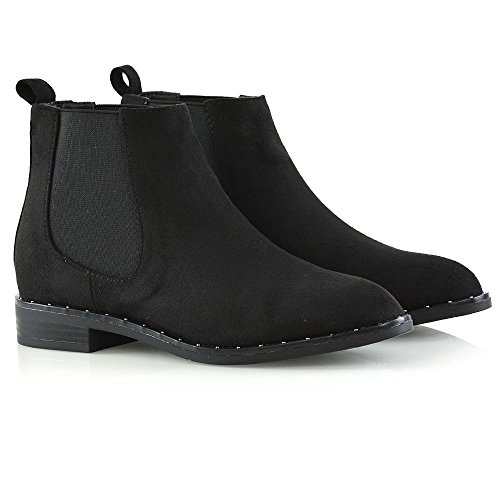 ESSEX Studded Boots Black Goth Biker On Pull Flat Ladies Faux Chelsea Heel Shoes Suede Ankle GLAM Womens SwHqtBSr