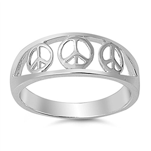 Filigree Peace Sign Symbol Fashion Ring New .925 Sterling Silver Band Size 10