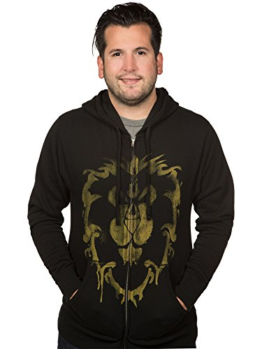 JINX World of Warcraft Men's Alliance Spray Paint Zip-Up Hoodie (Black, Small)