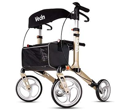 Vecin Folding Rollator Walker with Seat & Bag, Height Adjustable & Mobility Lightweight Rolling Adult Walker for Elderly & Senior