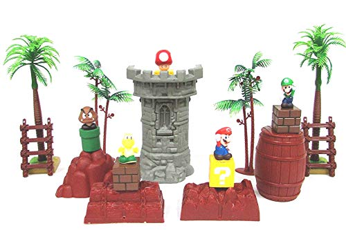 Super Mario Brothers Game Scene Playset Featuring Mario Figures and Themed Accessories