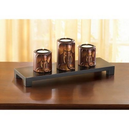Gifts & Decor Wooden Elephant Motif Trio Set Tealight Candleholder