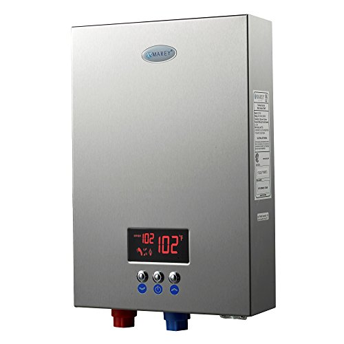 Marey ECO180 18kW 4.4 gpm 220V Self-Modulating Multiple Points Tankless Electric Water Heater for The Whole US Territory, Small, Silver
