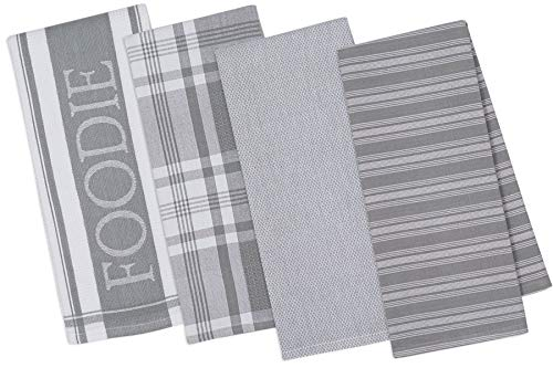 DII Assorted Decorative Kitchen Dish Towels Foodie Set, Ultra Absorbent for Washing and Drying (18x28