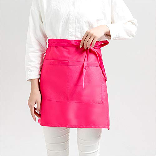 YXDZ (2 Pieces Apron Home Kitchen Half-Length Short Korean Fashion Waiter Men and Women Waist Coffee Tea Shop Overalls Pink